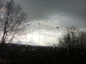 Rainy train window