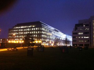 BBC White City at night