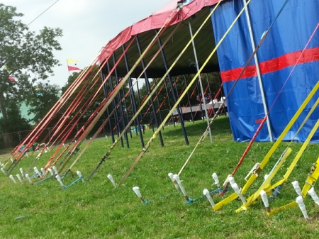 Glastonbury set up: tent pegs