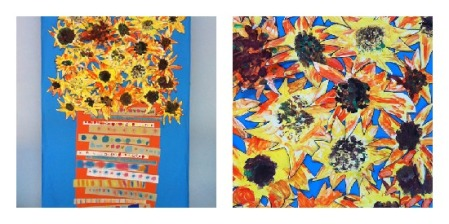 kids sunflower painting collage