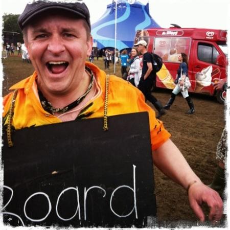 Board man at glasto