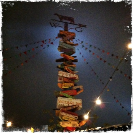Glastonbury sign post at night