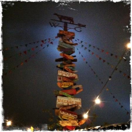 Glastonbury sign post at night