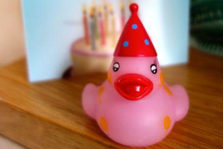 pink birthday rubber duck