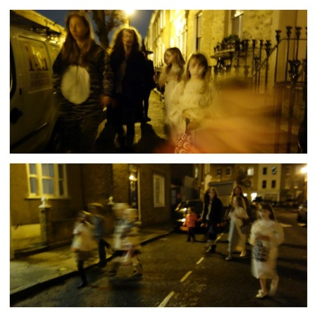 kids trick or treating collage
