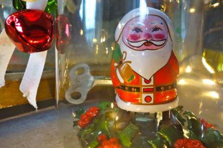 Clockwork santa in a jar