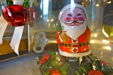 Clockwork santa in a jar
