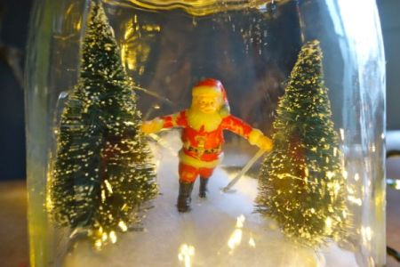Skiing santa in a jar