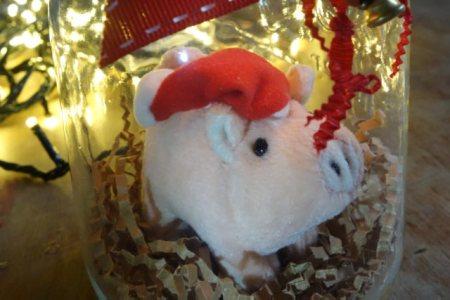 Christmas pig in a jar