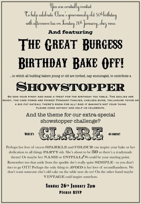 bake off birthday invite